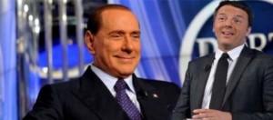 Nel fotomontaggio Renzi e Berlusconi a Porta a Porta