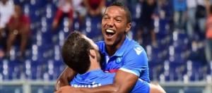 Esultanza De Guzman dopo il gol contro il Genoa.