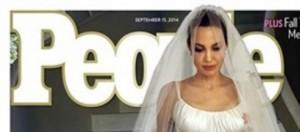 People ha in copertina Angelina e l'abito bianco.