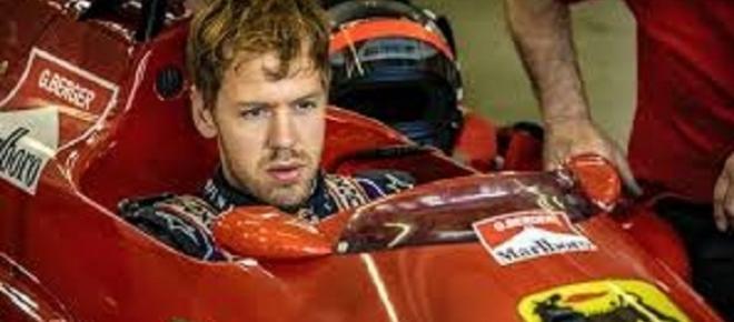 Sebastian Vettel a bordo della Ferrari