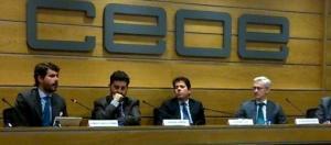 Gerardo Cuerva, Ignacio García Bercero y Antonio Fernández-Martos Montero en un encuentro de la CEOE para la explicación de los detalles del TTIP