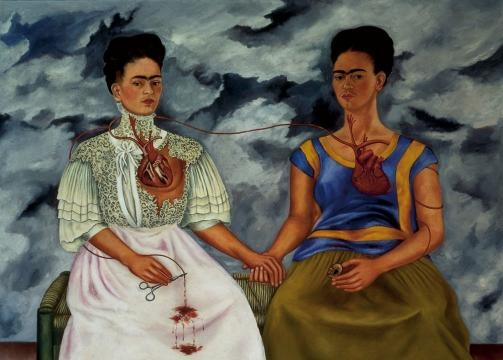 Detalle de la obra Las dos Fridas. Frida Kahlo.