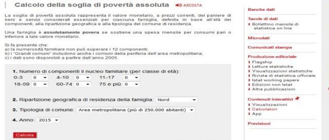 Povert assoluta il dramma di un milione e seicentomila for Calcolo istat