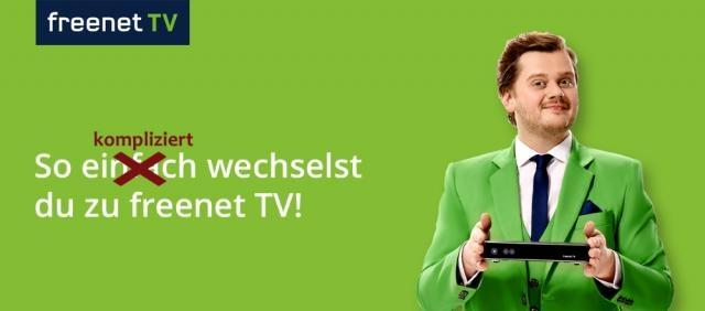 Freenet TV Werbung verspricht einen einfachen Wechsel / Symbolbild; Foto: Freenet Werbung, Montage