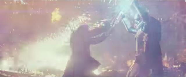 John Boyega as Finn fighting Gwendoline Christie's Captain Phasma- YouTube/Star Wars