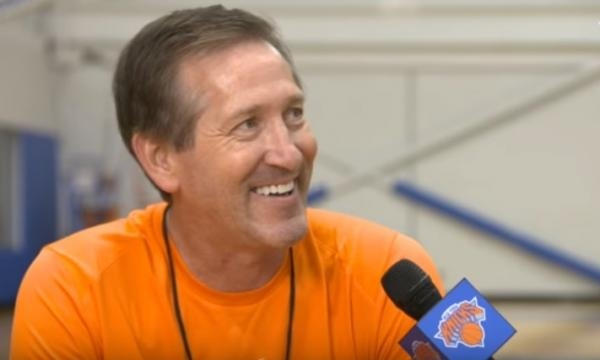 New York Knicks coach Jeff Hornacek speaks with a reporter. -- YouTube screen capture / New York Knicks