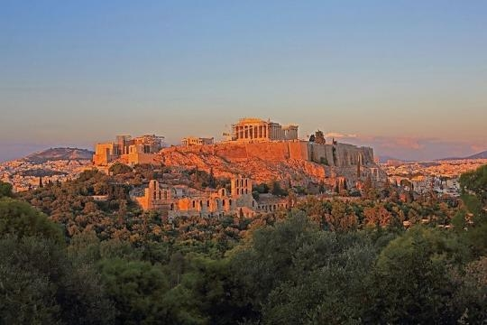 The sunset in Athens, Greece. Acropolis