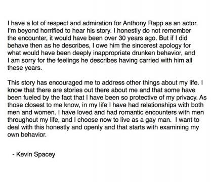 Kevin Spacey's Statement released 30/10/2017