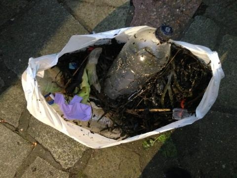 A plastic bag (ironically) full of a hoard of the waste shown in the photos of Canvey Island seafront. Why document, but not act?!