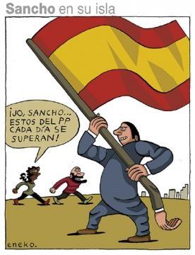 Otra viñeta de Eneko, no publicada, con un seguidor del PP blandiendo una bandera de España en un peculiar mástil.