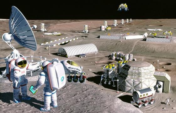 Future luinar colony [image courtesy of NASA wikimedia commons]