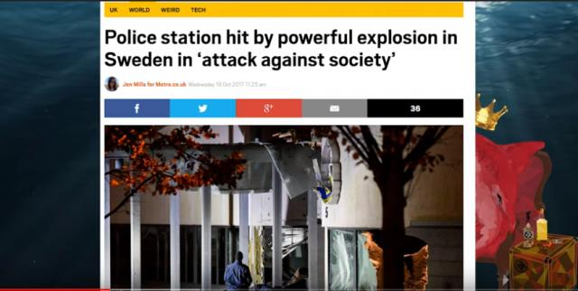 Up to 12 bomb attacks have occurred in Sweden in the last 28 days - Image credit - Red Pill Shark - YouTube
