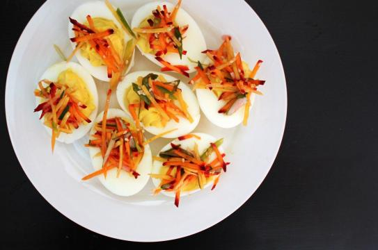 Deviled eggs are a perfect appetizer for Thanksgiving.[Photo via pepperlola at Pixabay.com. Creative Commons license].