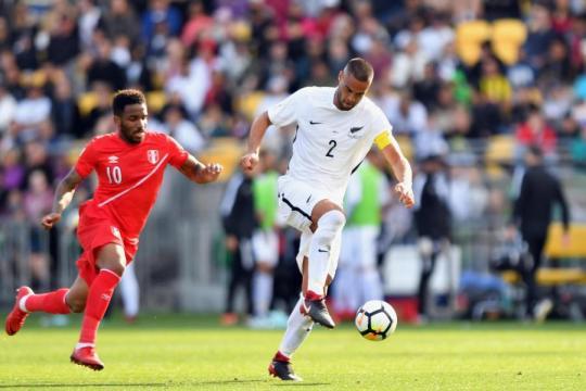 Una fase del match d'andata tra Nuova Zelanda e Perù, valido per i play off Mondiali Interzona