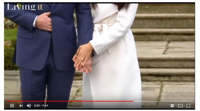 Meghan Markle shows off her engagement ring. - [Image via Virtual News YouTube screencap]
