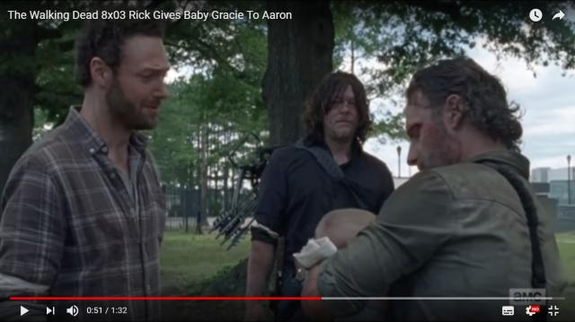 Rick gives baby Gracie to Aaron [Photo via Daryl Dixon, YouTube screencap]