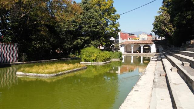 El tradicional estanque en el Jardín Borda con un foro al aire libre.
