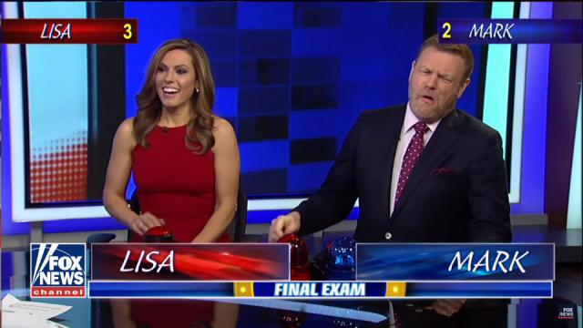 Lisa smiles victoriously after answering the final question correctly, next to her dismayed opponent Steyn. [Fox News /YouTube screencap]