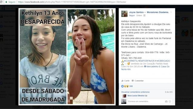 Grupos do Facebook foram usado para divulgação da notícia de que a garota está desaparecida
