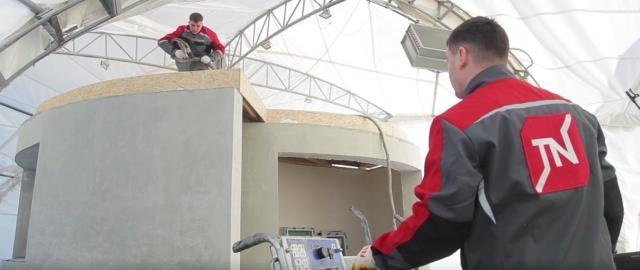 Der letzte Feinschliff am Dach - Quelle: Apis Cor