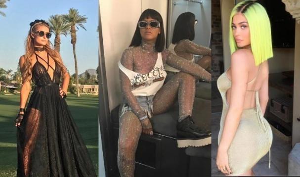 Paris Hilton (L) rocking the sheer dress trend. Rihanna (C) wearing a metallic bodysuit. Kylie Jenner (R) with neon hair. (Via: glamour.co.uk)