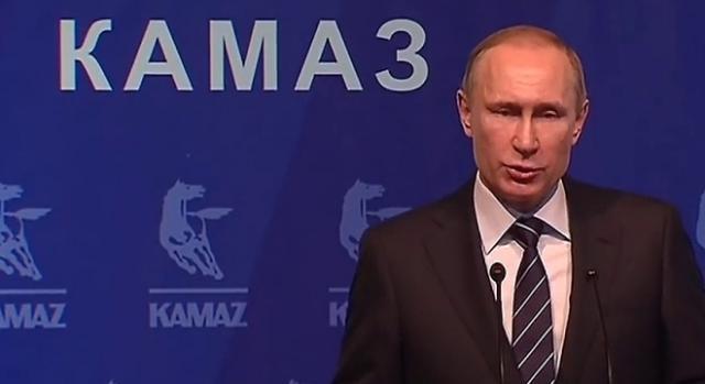 Putin bei Kamaz, Februar 2016; hart doch gerecht