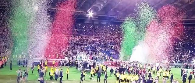 Un momento della straordinaria festa di sport allo stadio Olimpico