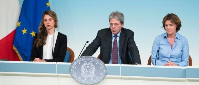 Un momento della conferenza stampa tenuta al termine del Cdm (governo.it)