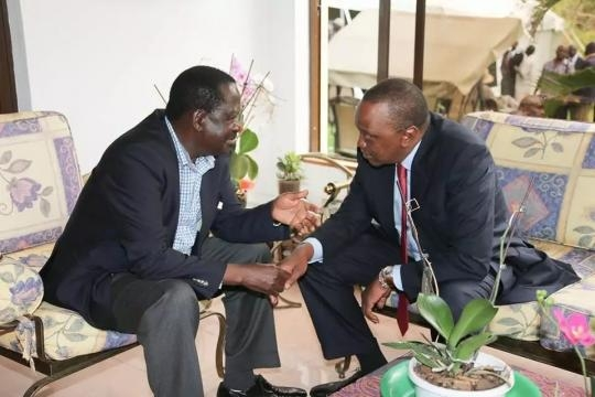 Raila with President Uhuru -tuko.co.ke
