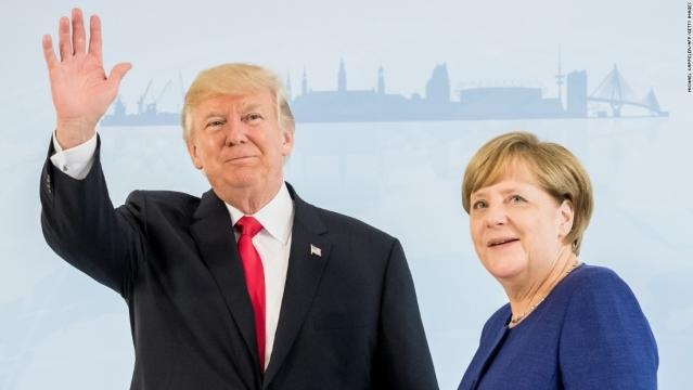 Donald Trump e a chanceler alemã Angela Merkel.
