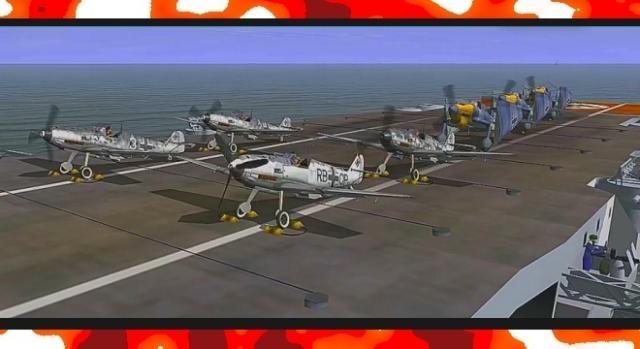 Eskadra myśliwców Bf109 na pokładzie projektowanego niemieckiego lotniskowca (fot. YouTube screenshot)