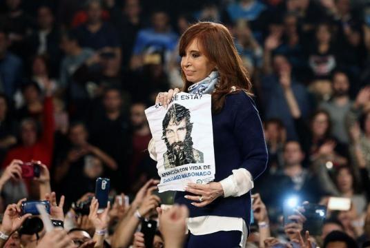 Cristina Kirchner reclamando por Santiago Maldonado