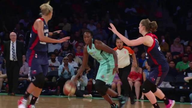 The Washington Mystics upset the No. 3 seed New York Liberty on the road on Sunday in the WNBA Playoffs. [Image via WNBA/YouTube]