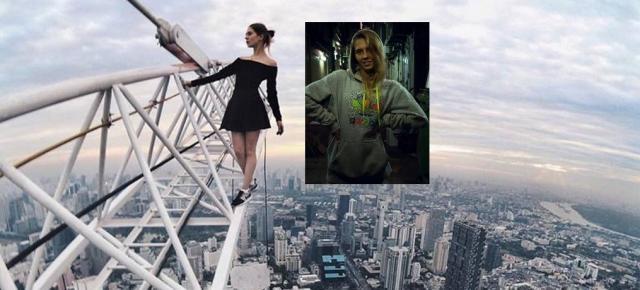Angela Nikolau lebt in Moskau und reist für gefährliche Bilder um die Welt - hier in 380 Meter höhe in Bangkok / Fotos: @beerkus; Angela Nikolau