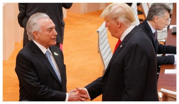 Presidentes Michel Temer e Donald Trump