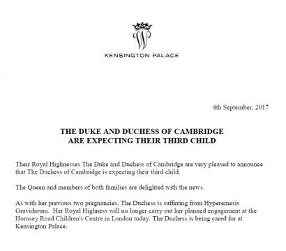 The Kensington Palace confirmed the news today