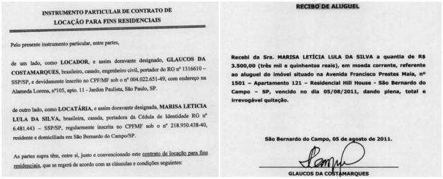Lula mostra comprovantes de aluguel