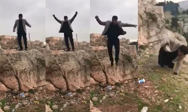 Halil Dağ faleceu ao saltar de uma rocha e se desequilibrar, o que o fez cair de um penhasco (Crédito: YouTube/Urfanatik Gazetesi)