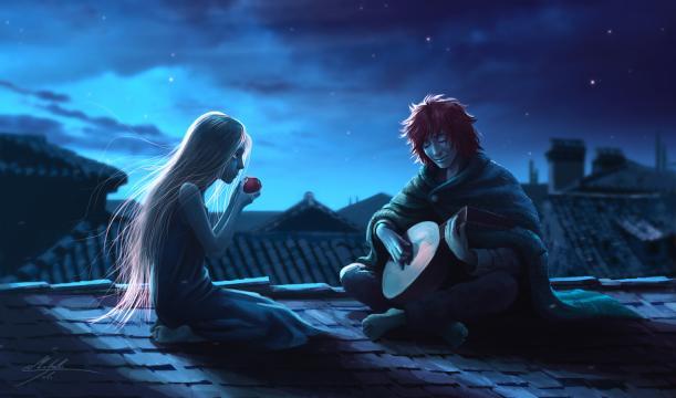 Kvothe tocando el laúd junto a Auri (Asesino de Reyes wiki - Manweri)