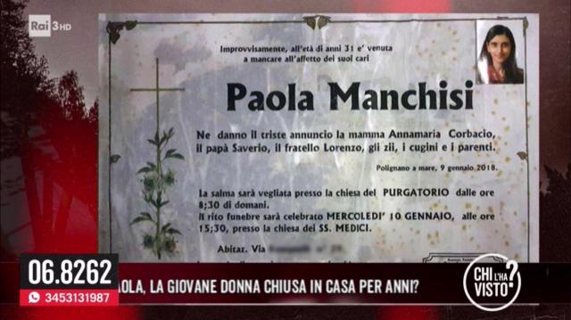 Paola Manchisi, la ragazza chiusa in casa per 14 anni è stata trovata morta