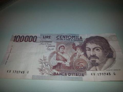 Il Caravaggio, la vecchia banconota da 100.000 Lire