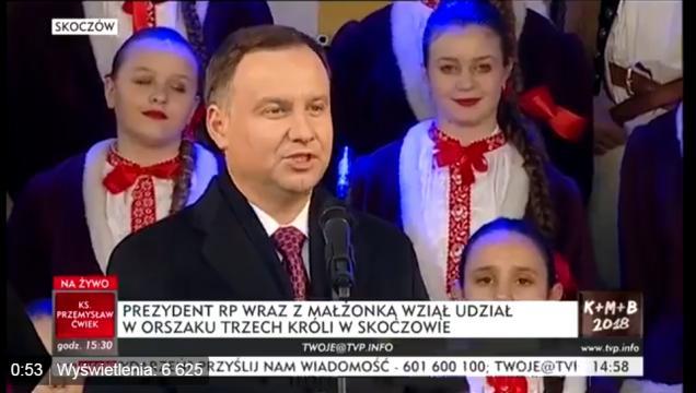 Prezydent Polski Andrzej Duda podczas przemówienia z okazji święta Trzech Króli (screen Twitter).