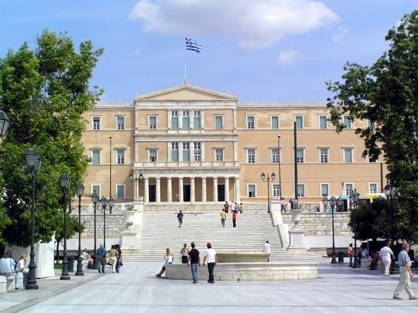 Fachada principal del parlamento heleno