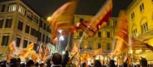 I manifestanti in piazza a Treviso