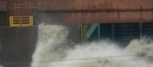 Nível da altura da água numa das comportas