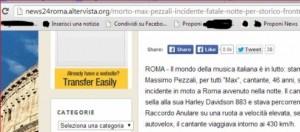 Screenshot Roma news 24 su Max Pezzali