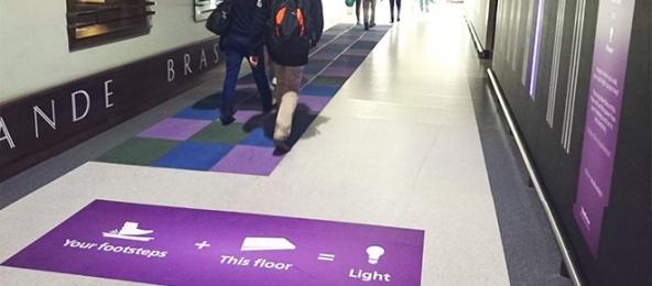 Pavegen floor harvests energy from footsteps
