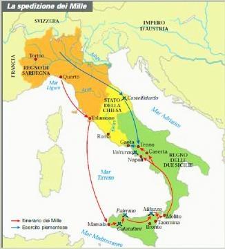 Cartina dell'Impresa dei Mille