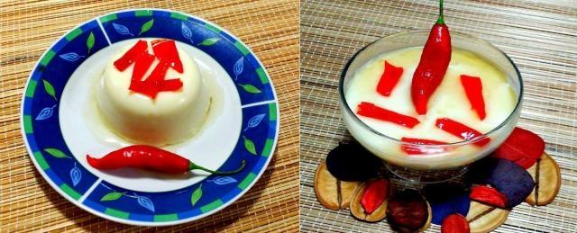 Manjar branco com calda doce de pimenta