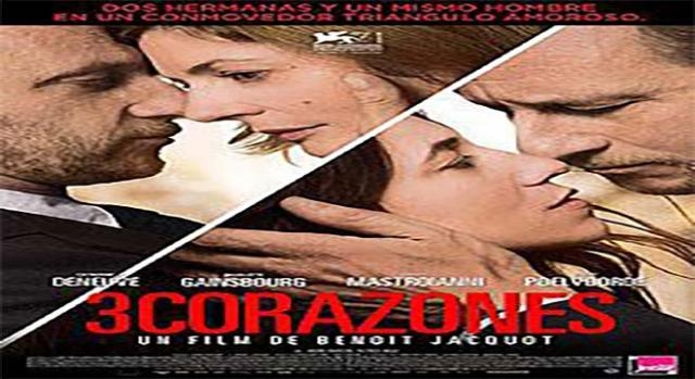 Cartel de la película francesa 3 corazones